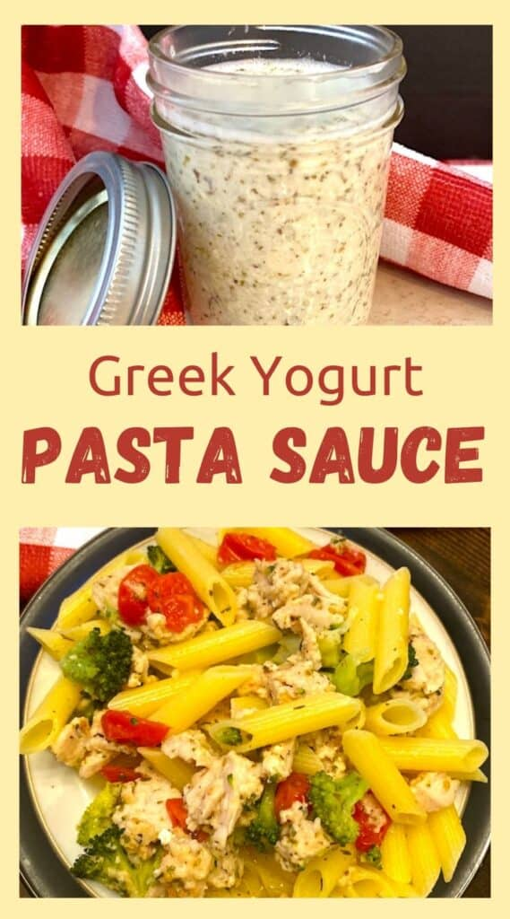 lows-fat Greek yogurt Alfredo sauce in a jar and mixed with pasta, turkey, and vegetables