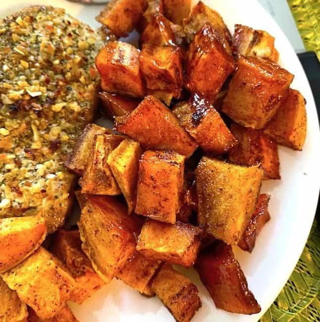 Honey roasted sweet potatoes on a plate
