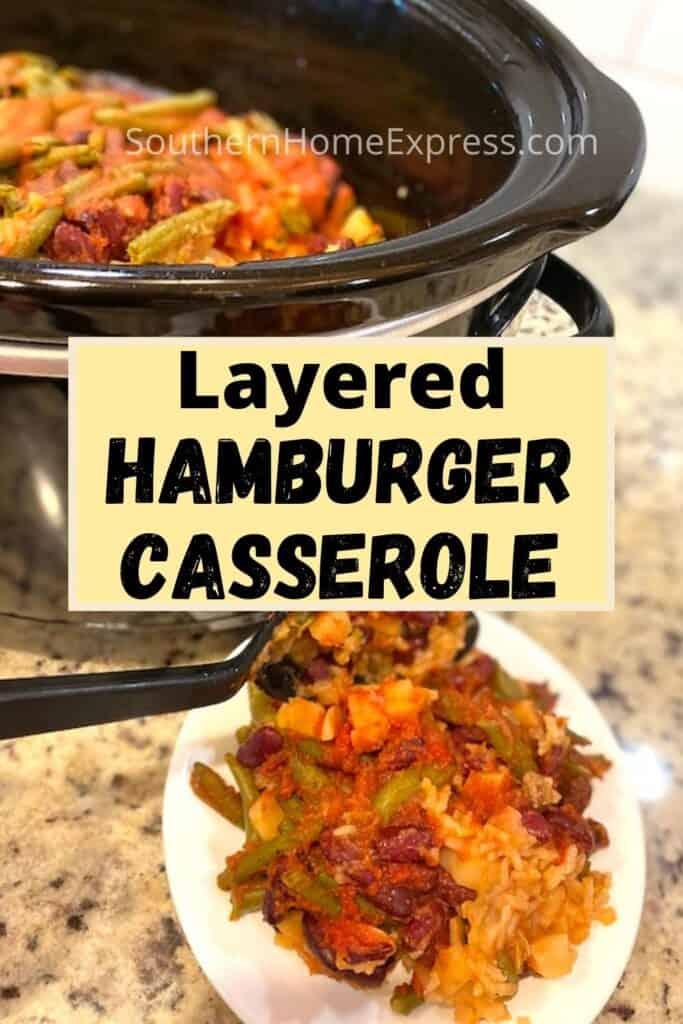 Crock Pot and a plate with layered hamburger casserole