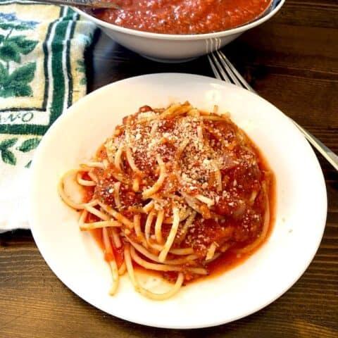 Plate of spaghetti marinara sauce