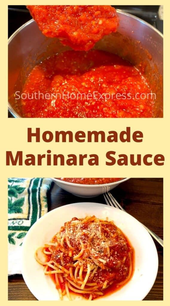 Pot of marinara sauce above a plate of spaghetti with marinara