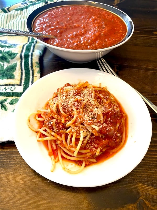 Plate of spaghetti with Parmesan cheese