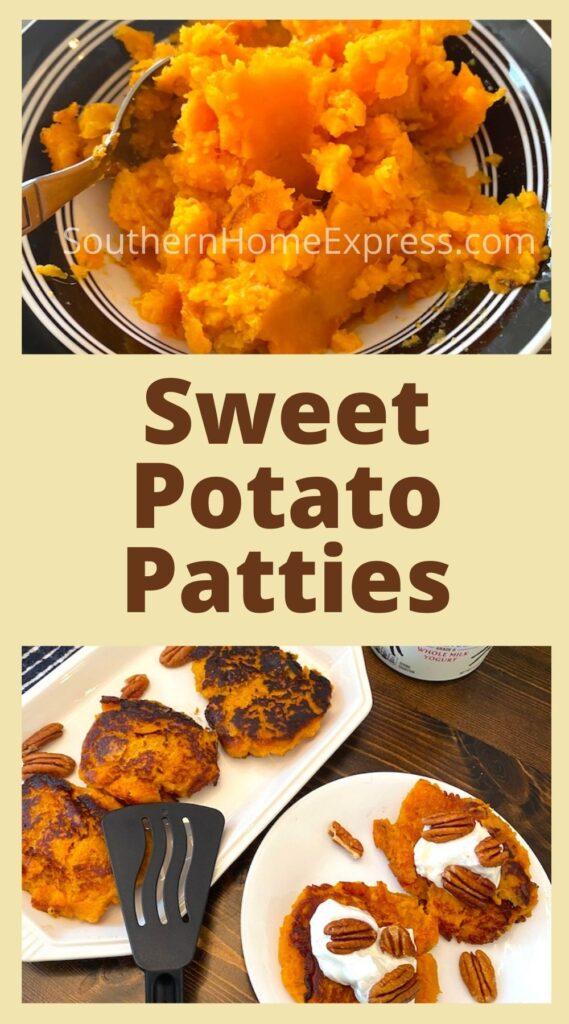 Bowl of mashed sweet potatoes above plates of sweet potato patties