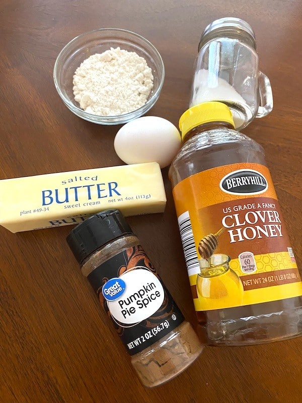 honey, butter, pumpkin pie spice, egg, almond flour, and salt