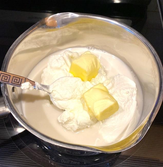 yogurt, butter, and milk in a saucepan