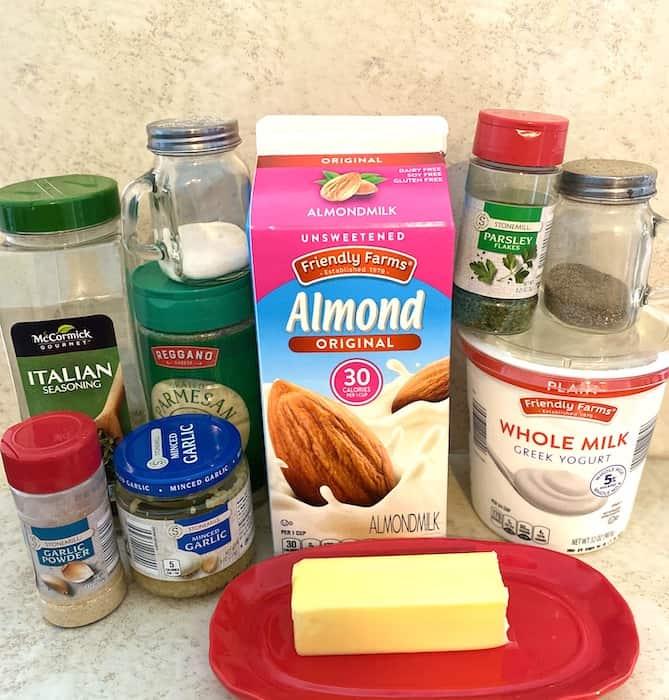 Italian seasoning, parmesan cheese, salt, almond milk, parsley, pepper, Greek yogurt, garlic powder, minced garlic, and butter