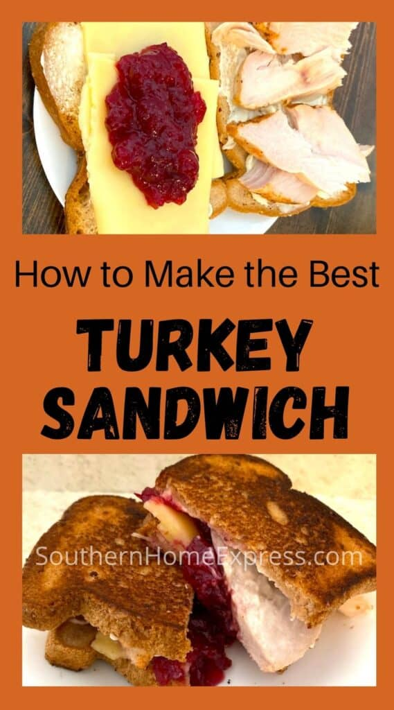 Turkey sandwich under construction above one that is ready to eat