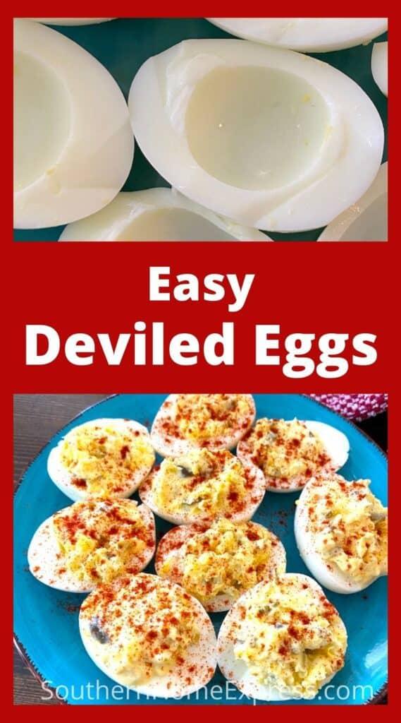 Plate of egg whites above deviled eggs