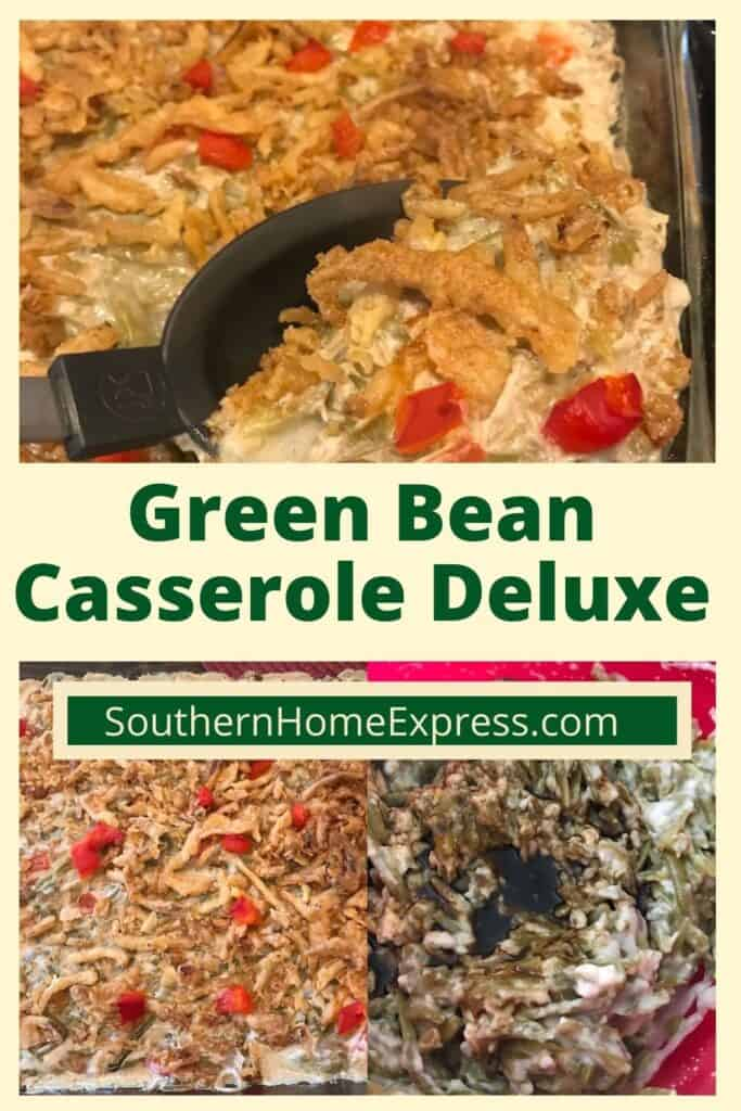 Different stages of cooking a green bean casserole deluxe