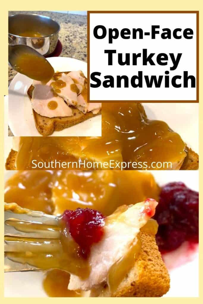 turkey and gravy on a slice of bread with cranberry sauce on the side