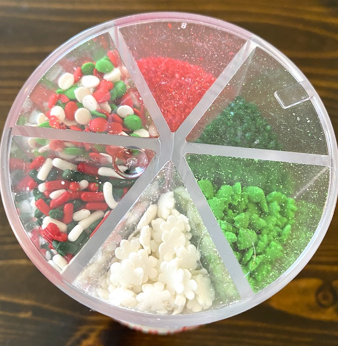 red, green, and white sprinkles