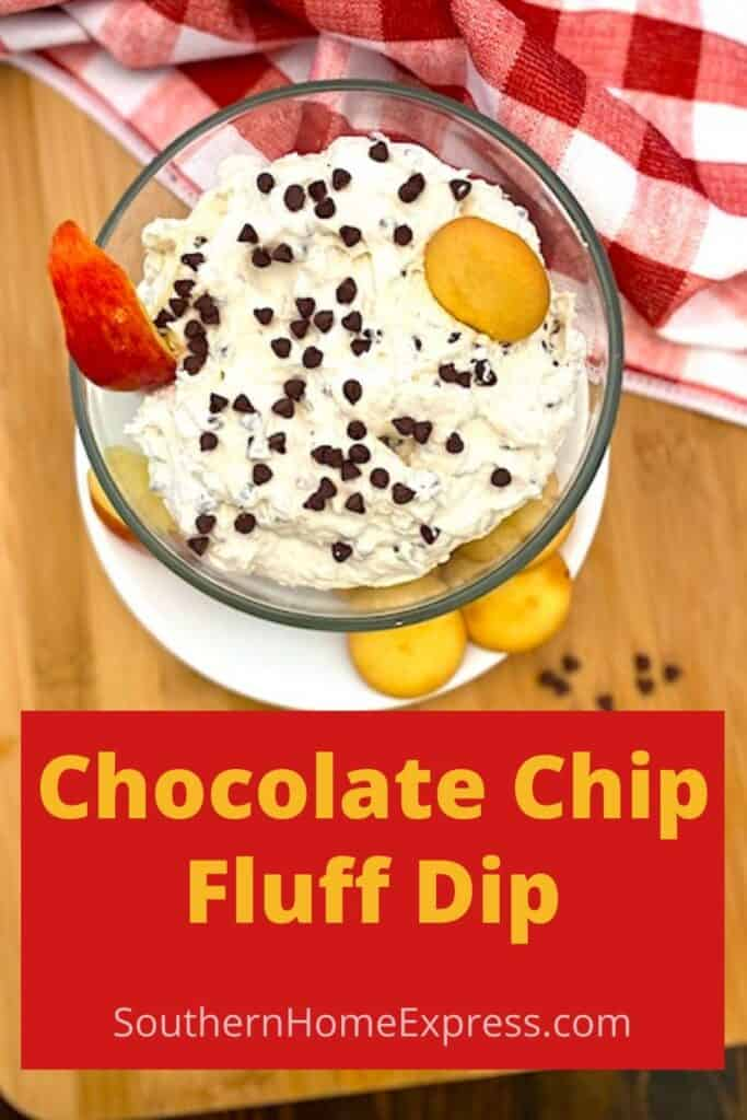 bowl of chocolate chip fluff dip with cookies and apple slices