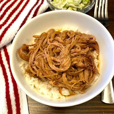 marmalade pork on rice in a bowl