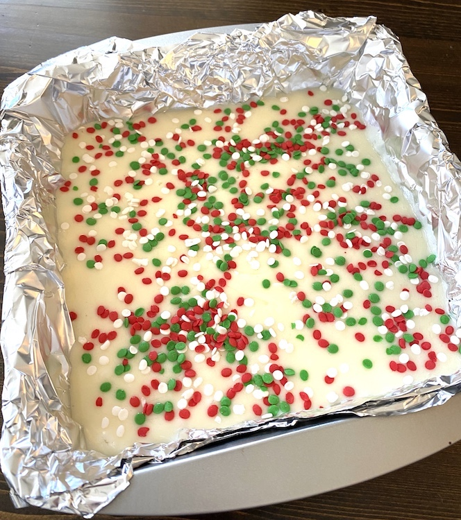 pan of fudge with sprinkles