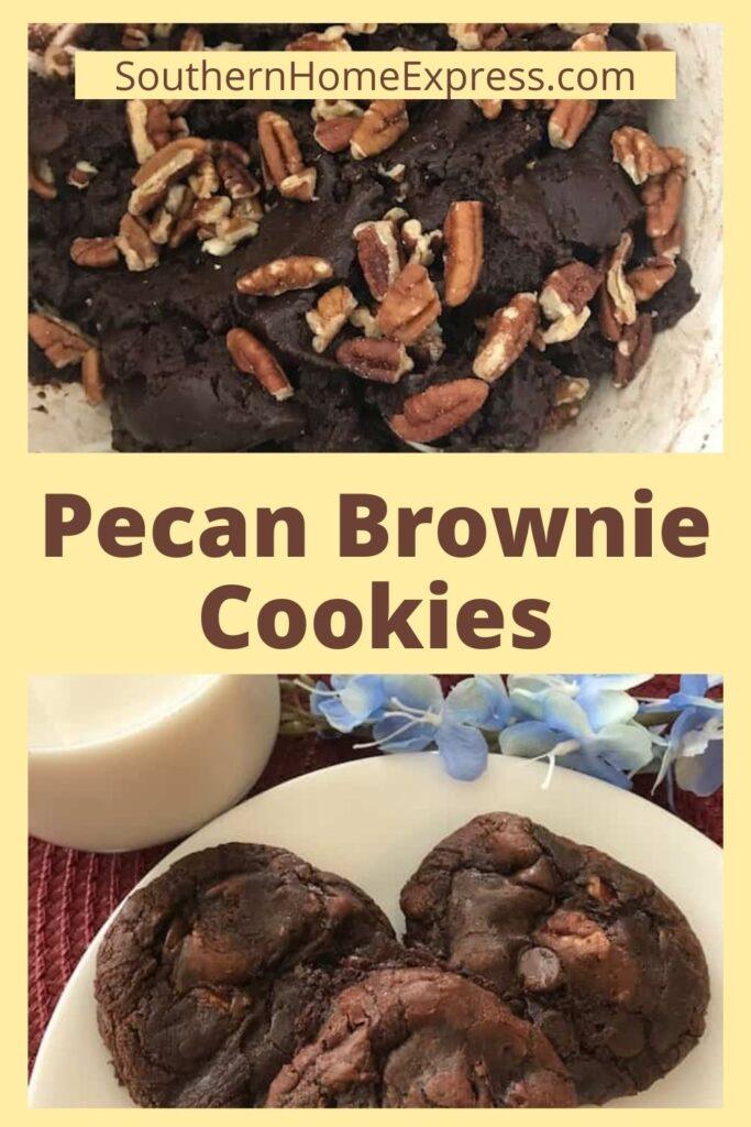 brownie cookie batter above plate of pecan brownie cookies