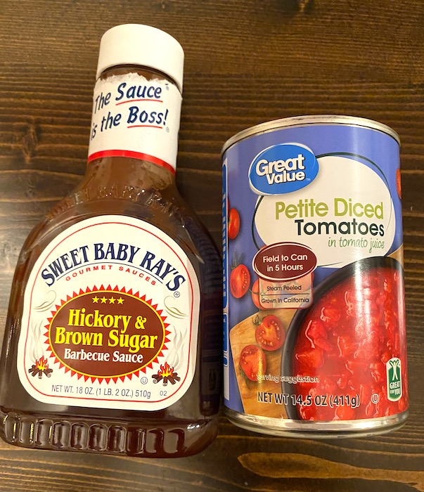 barbecue sauce and petite diced tomatoes