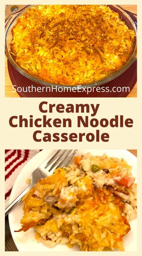 casserole dish above a serving of chicken noodle casserole