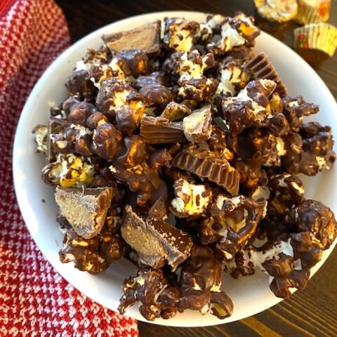 bowl of chocolate peanut butter moose munch