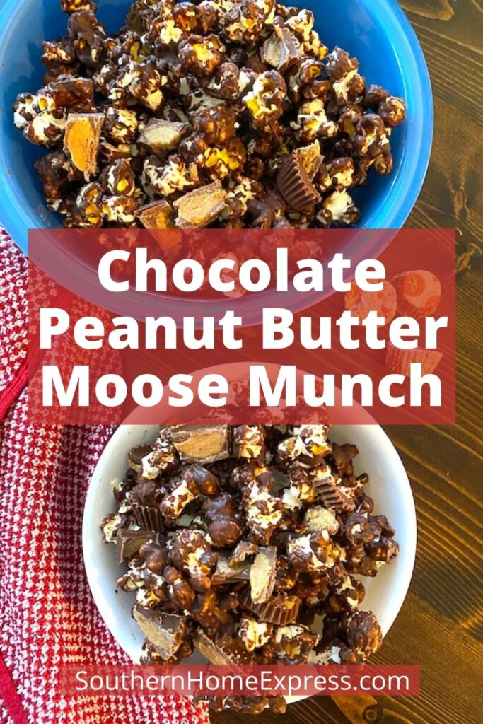 2 bowls of chocolate peanut butter moose munch