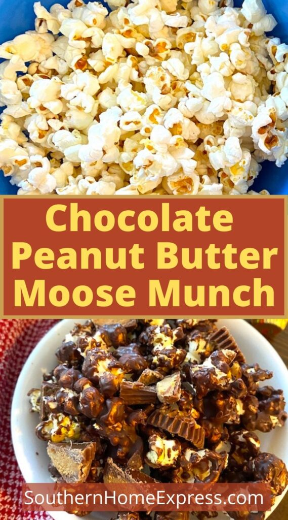 bowl of popcorn above a bowl of chocolate peanut butter moose munch