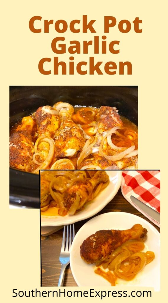 garlic chicken in a slow cooker and on a plate