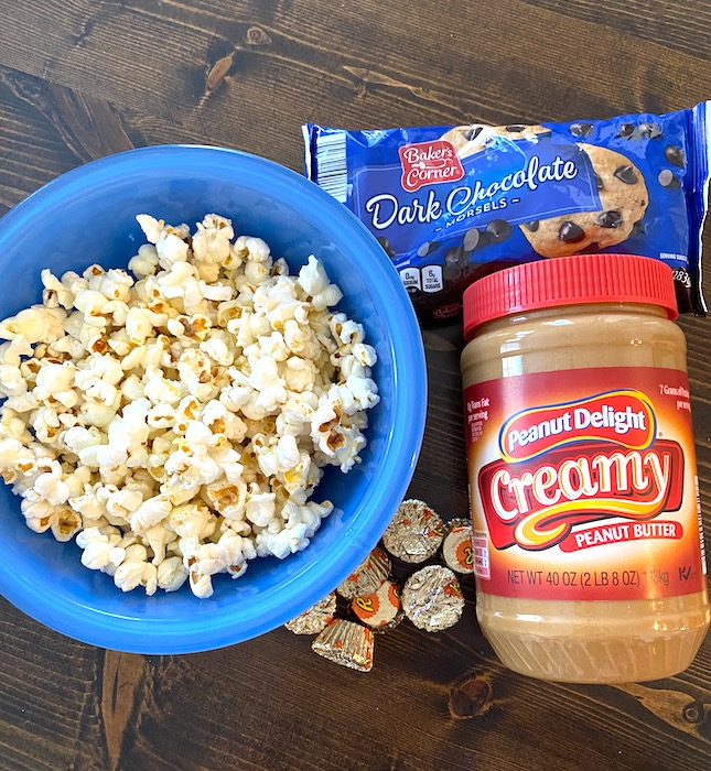 popcorn, peanut butter, chocolate chips, and Reese's cups