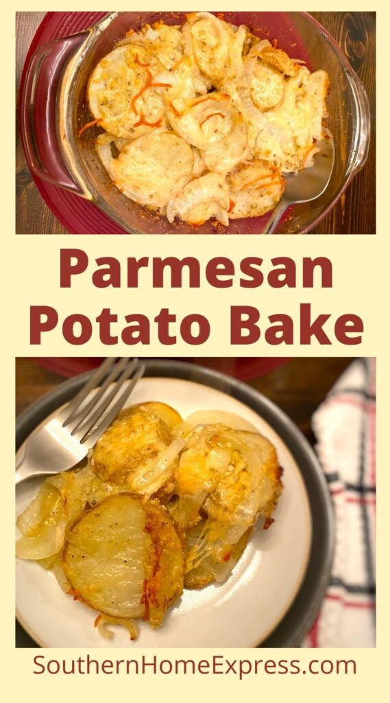 casserole dish and plate with parmesan potato bake
