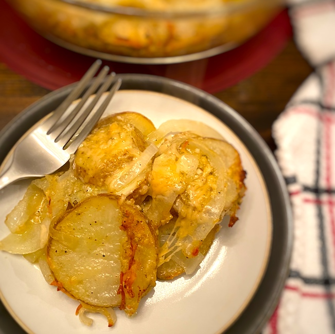 parmesan potatoes on a plate
