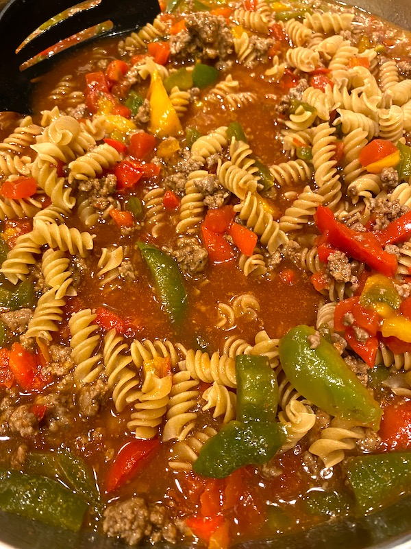 pasta added to the pan