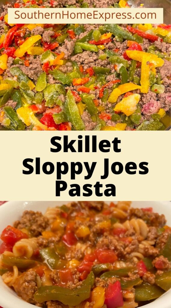 Ingredients in a pan above a bowl of skillet sloppy joes pasta