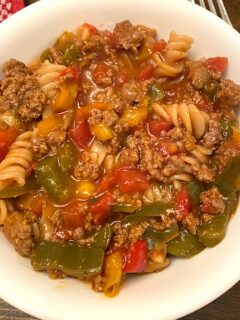 bowl of sloppy joes spiral pasta