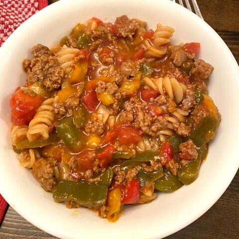bowl of sloppy joes spiral pasta