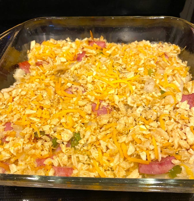cheese and potato chip topping on casserole