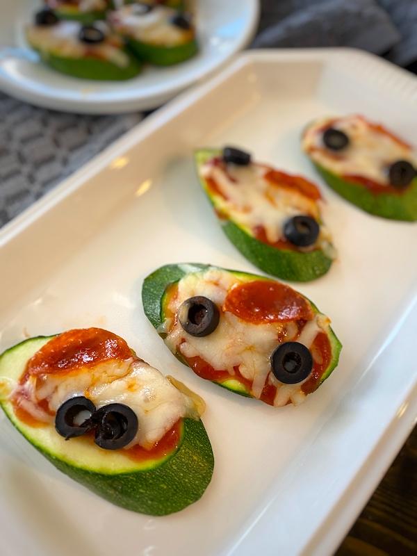 platter of zucchini pizza bites