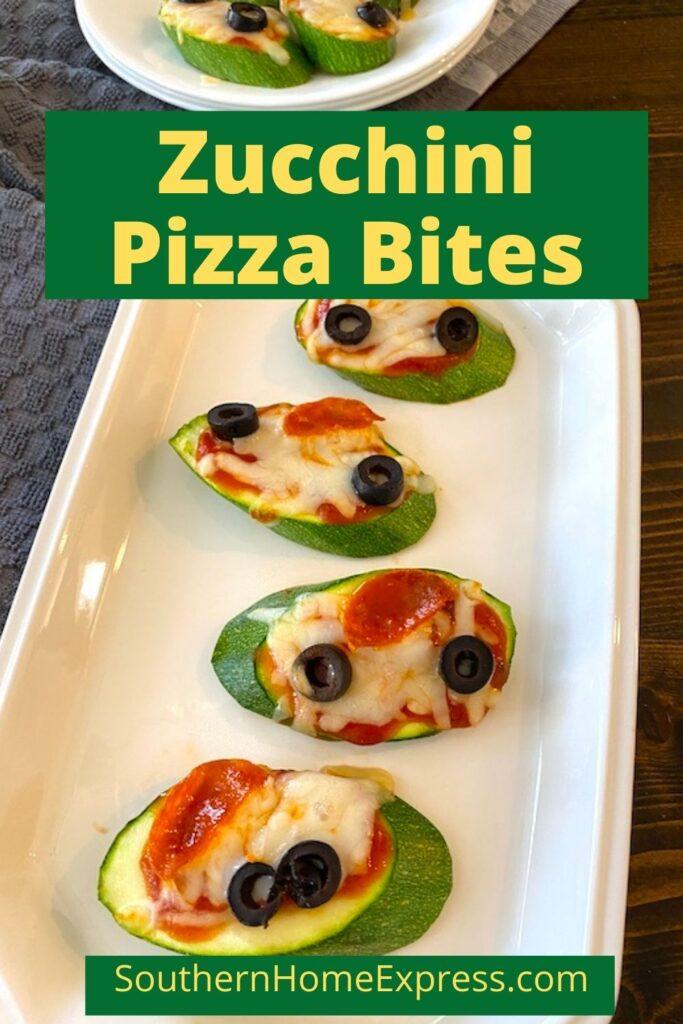 zucchini pizza bites on a platter