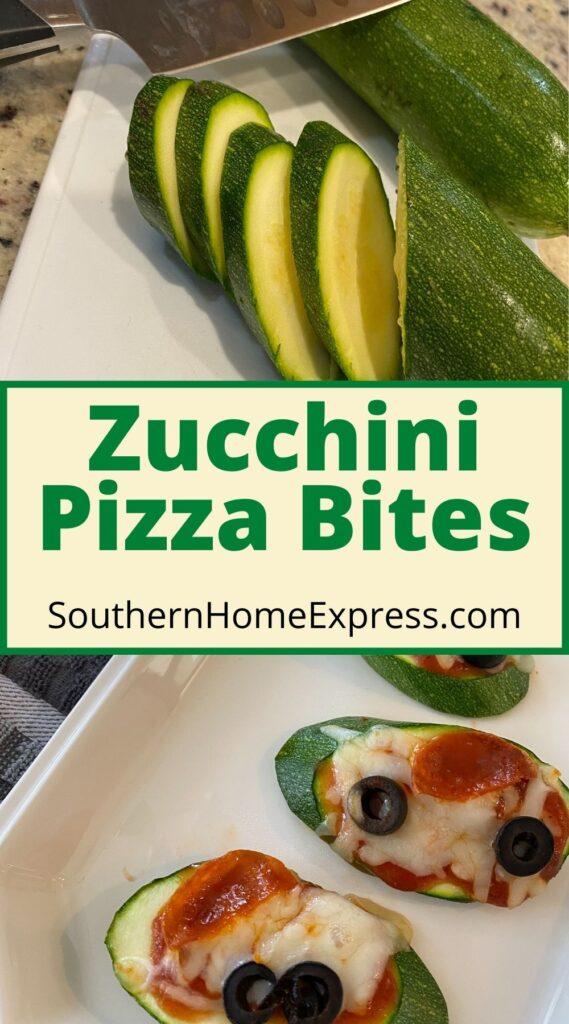sliced zucchini above a plate of zucchini pizza bites