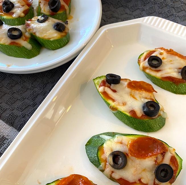 Platters of zucchini pizza bites