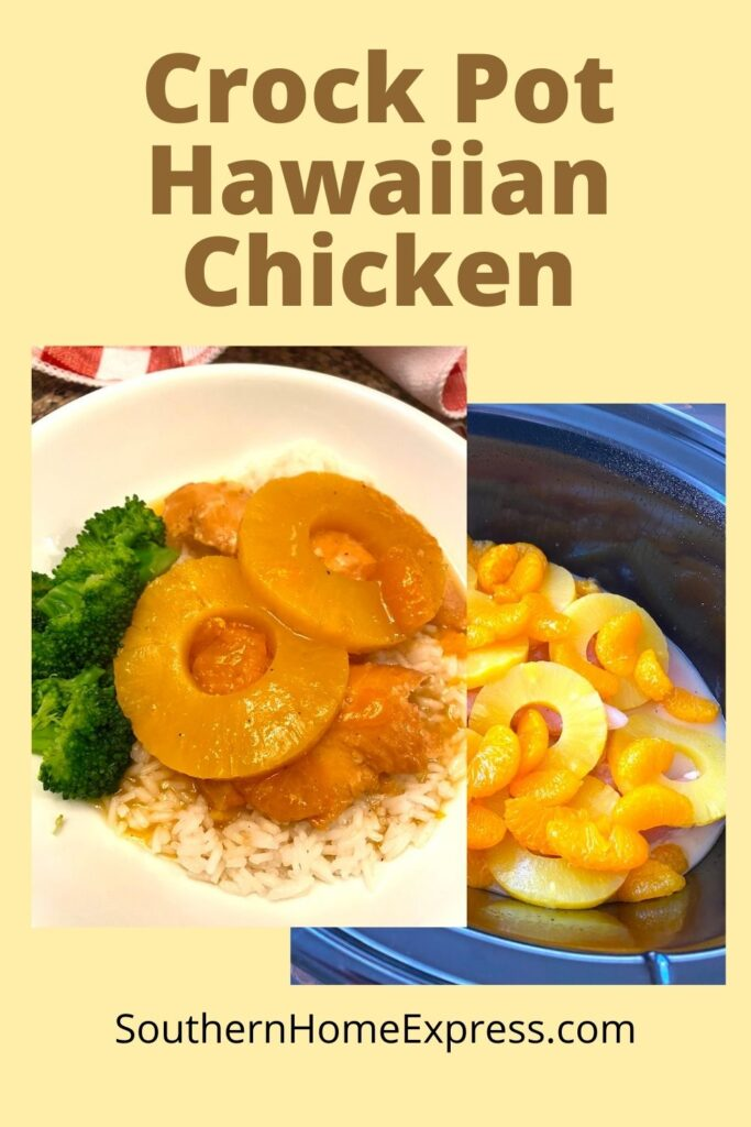 Hawaiian chicken on a plate and in the slow cooker