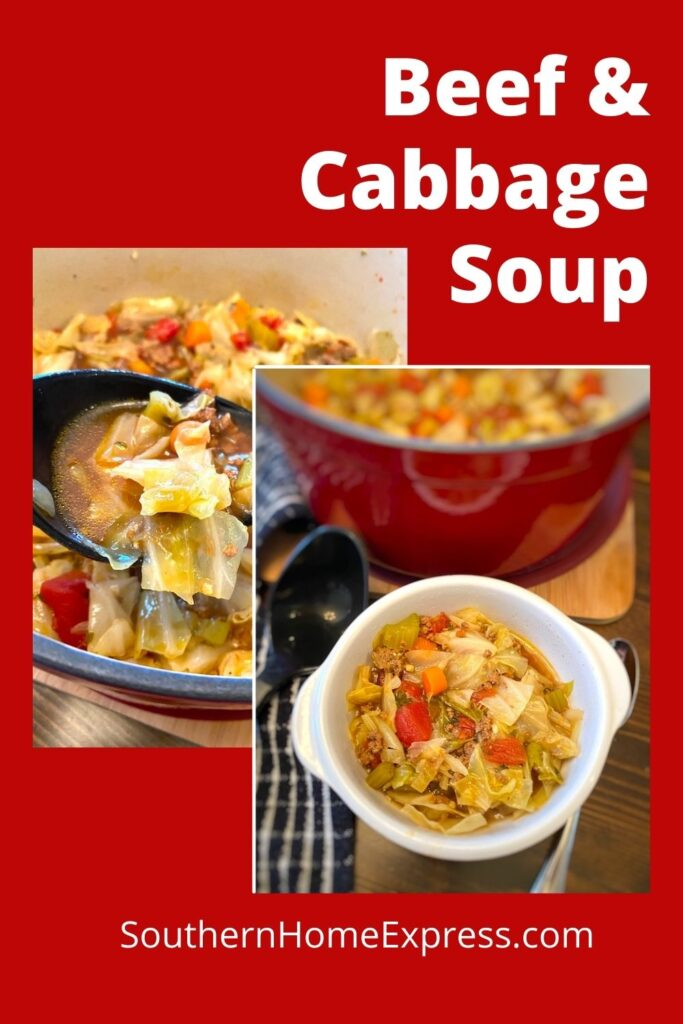 bowl and pot of beef and cabbage soup