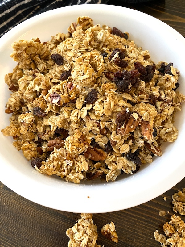cinnamon raisin granola in a bowl