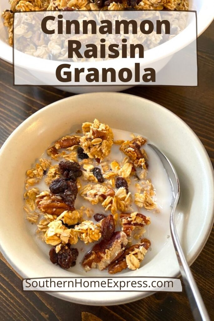 bowl of cinnamon raisin granola with milk