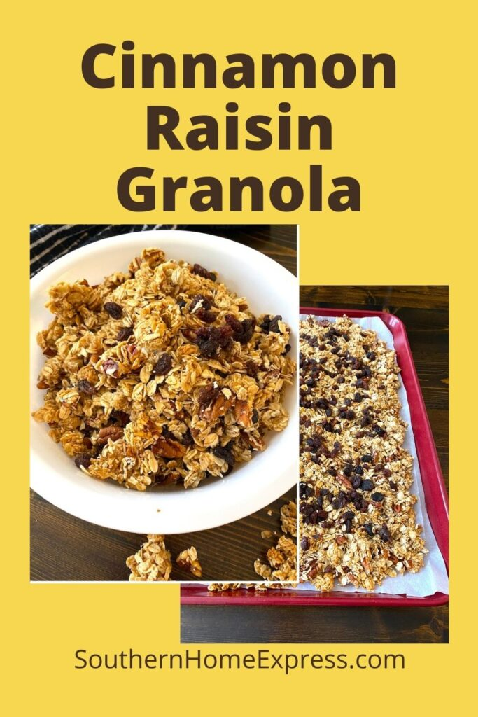 bowl of cinnamon raisin granola next to a pan of granola