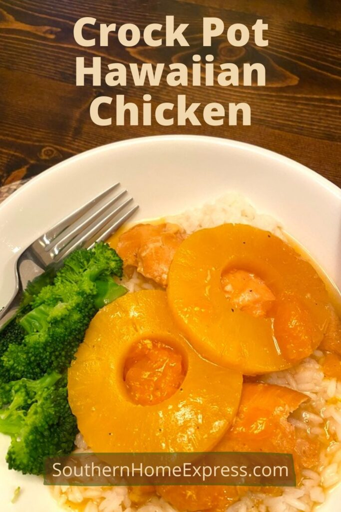 Hawaiian chicken over rice in a bowl beside steamed broccoli