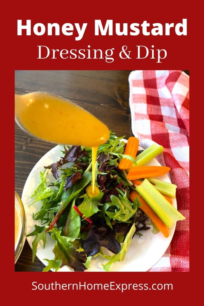 drizzling honey mustard dressing over a mixed greens salad