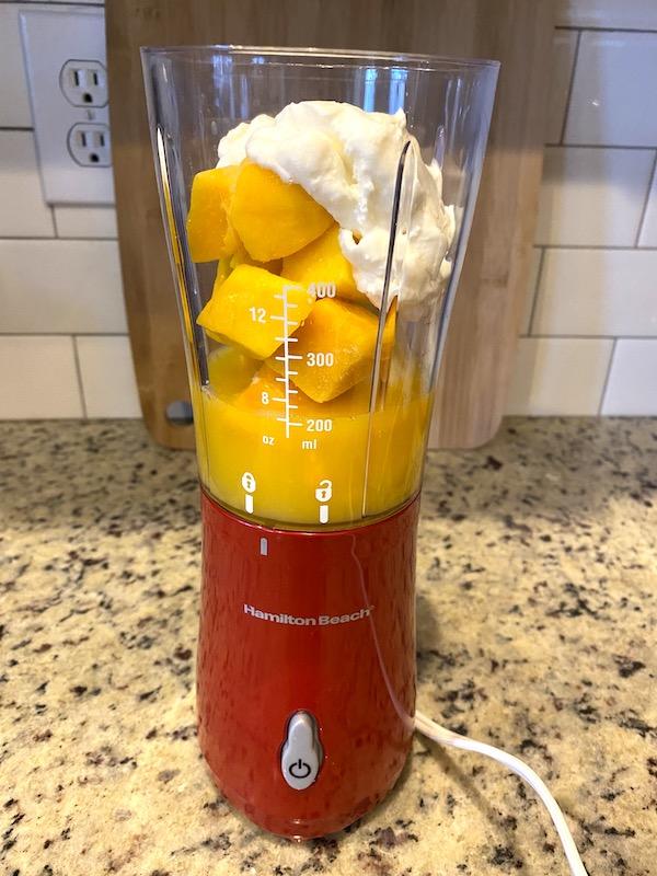 ingredients in a personal blender