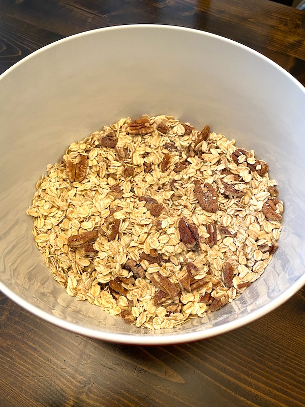pecans and oats mixed in a bowl
