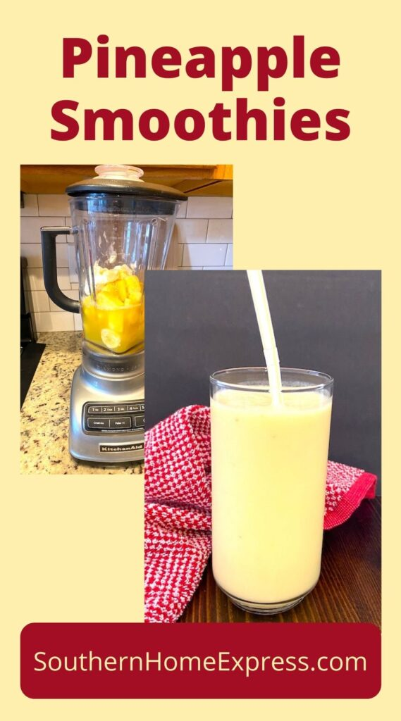 Blender with smoothie ingredients and a glass of pineapple smoothie