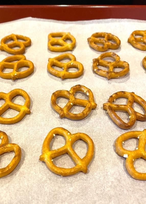 pretzels on a baking sheet
