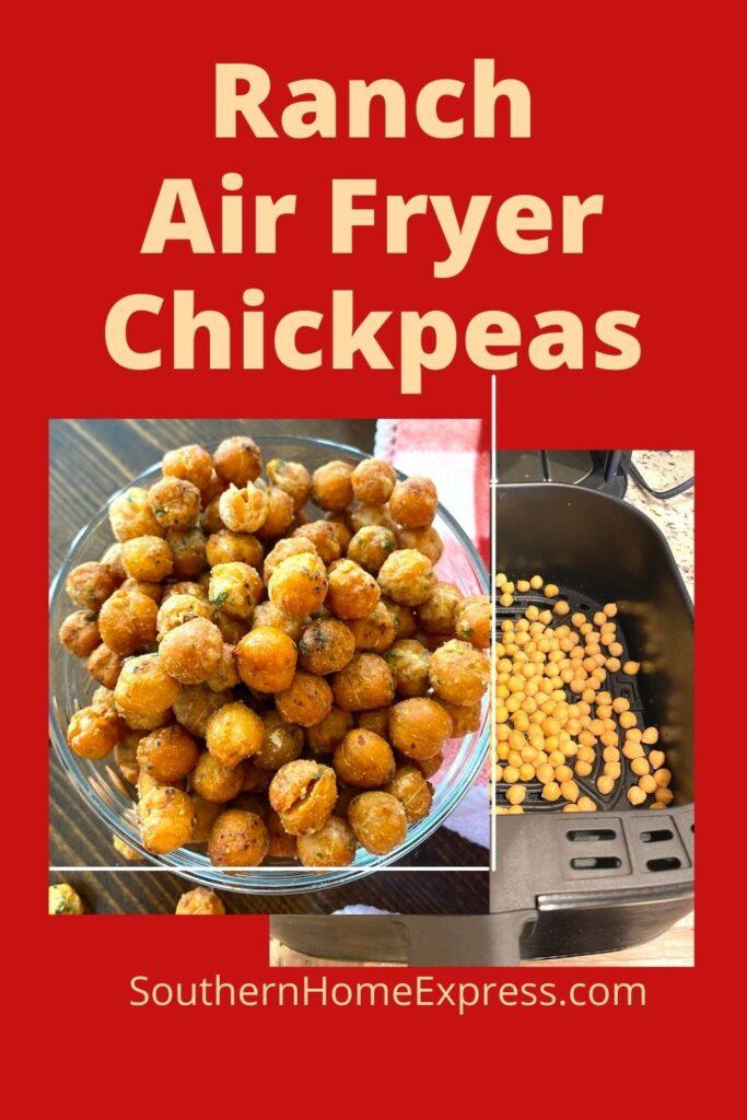 Chickpeas in an air fryer basket beside a bowl of crispy air fryer chickpeas