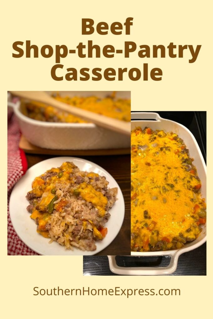 serving beside casserole dish with beef, vegetables, rice, and cheese casserole